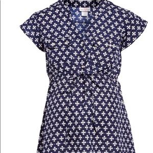 Navy and white maternity blouse